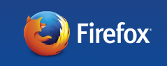 The Mozilla Firefox web browser logo on a blue background.