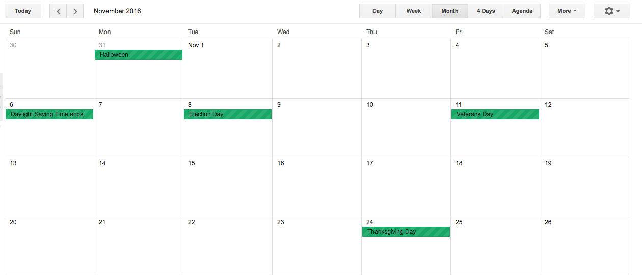 Screenshot of a modern calendaring application used to help schedule when you should journal.